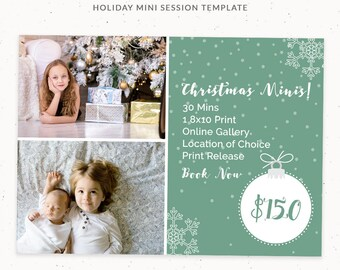 Mini Session Template Holiday, Holiday Christmas Card Template, 5x7 Photo Card, Holiday Marketing Template for Photographers, cr009
