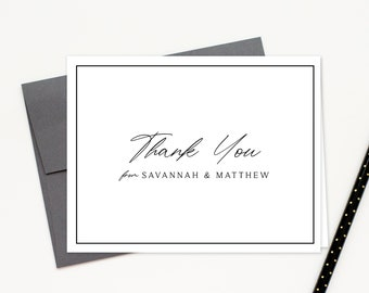 Personalized Wedding Thank you Cards with Border, Wedding Thank you Note, Elegant Family Stationary Notecard Set, Shower Thank you Card