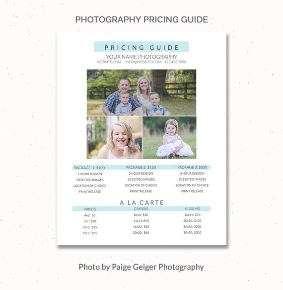 Photography Price List Template Pricing For Photographers Templates Sheet Pg005