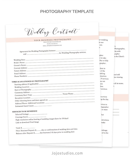Wedding Contract Template Wedding Contract Photography | Etsy