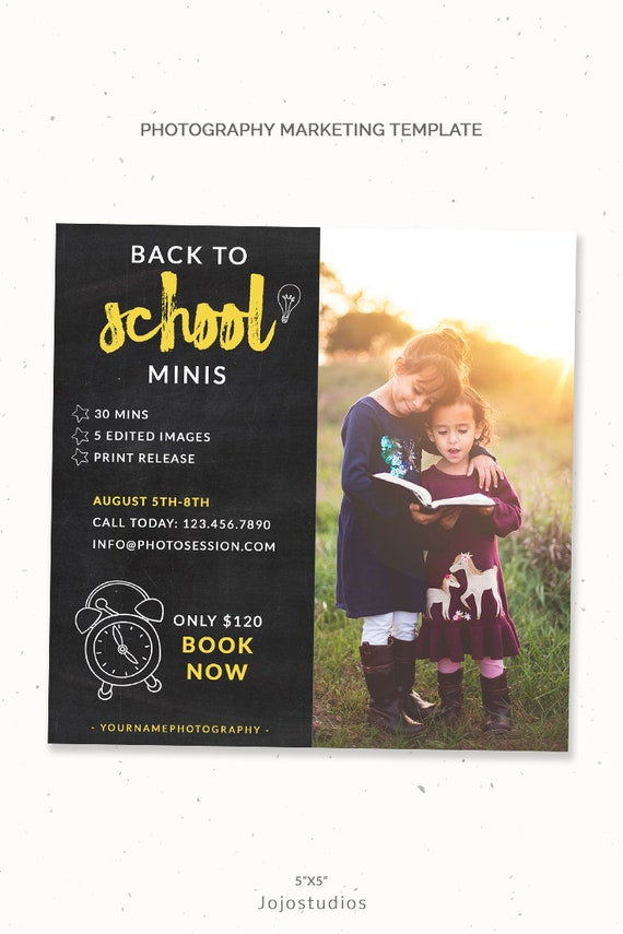Mini Session Branding Back To School Session Template 5x5 Etsy