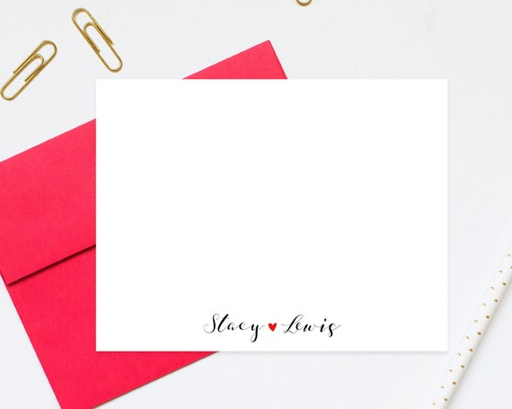 Couple Personalized Stationery Cards with Heart, Note Cards, Your Choice of Ink Colors, Set of Flat Note Cards and Envelopes, joS03