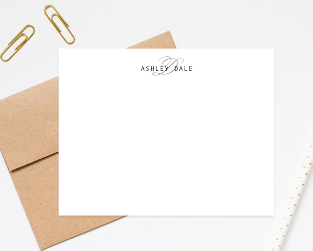 Contemporary Elegant Monogram Personalized Stationery Note Cards, Stationary Flat Cards with Envelopes