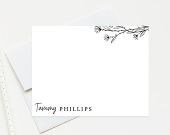 Personalized Stationery Set, Personalized Note Card with Envelopes Personalized Stationary with Floral, Customized Gift Set for Her