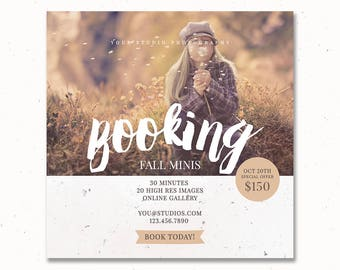 Booking Fall Minis Photoshop Template, Photography Template, Autumn Session, Holiday Template, Mini Session Marketing, m166