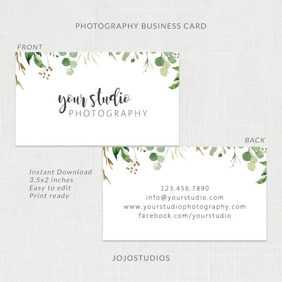 Grün Fotografie Visitenkarten Design Vorlage Für Fotografen Visitenkarte Editierbare Sofortiger Download Visitenkarte Vorlage
