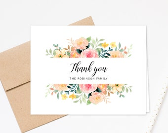 Personalized Greeting Notecards with Floral, Wedding Thank You Stationery Set, Thank You Business Cards, Bridal Shower Thank You Card