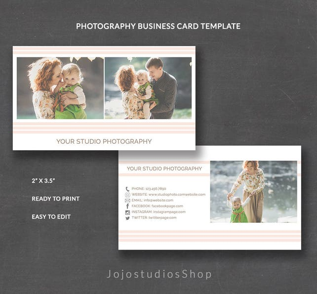 Pre Made Business Cards Photographer Business Card Template For