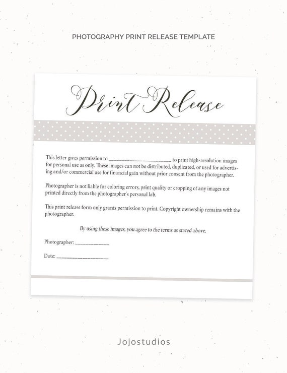 Photography Print Release Form Template Photography Template | Etsy