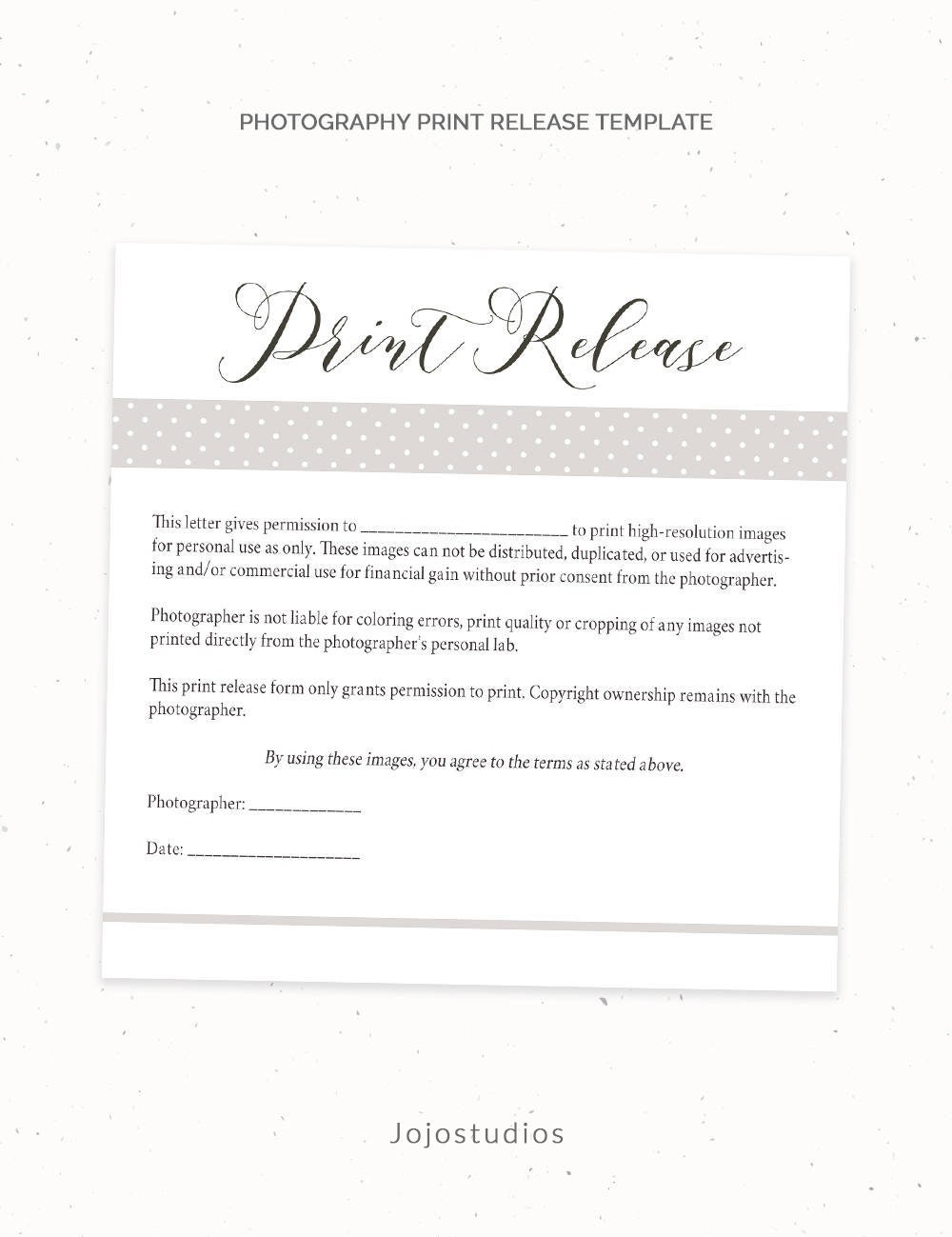 Photography Print Release Form Template Photography Template Etsy