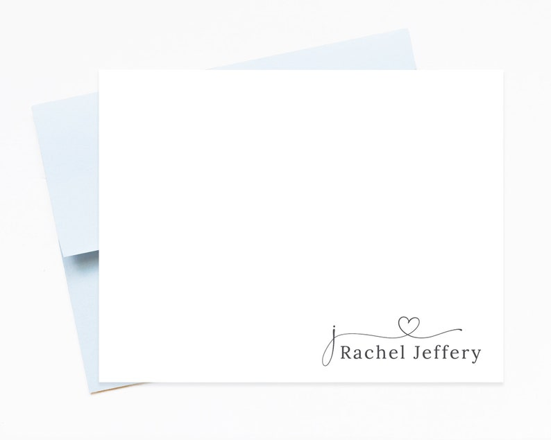 Monogram Heart Stationery Letter Cute Personalized Stationary Paper and Envelopes Set for Women Personalized Stationery Note Cards