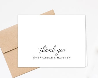 Personalized Folded Thank you Cards for Family, Wedding Thank you Card for Couples Gift Set, Custom Minimal Notecards, Family Stationery