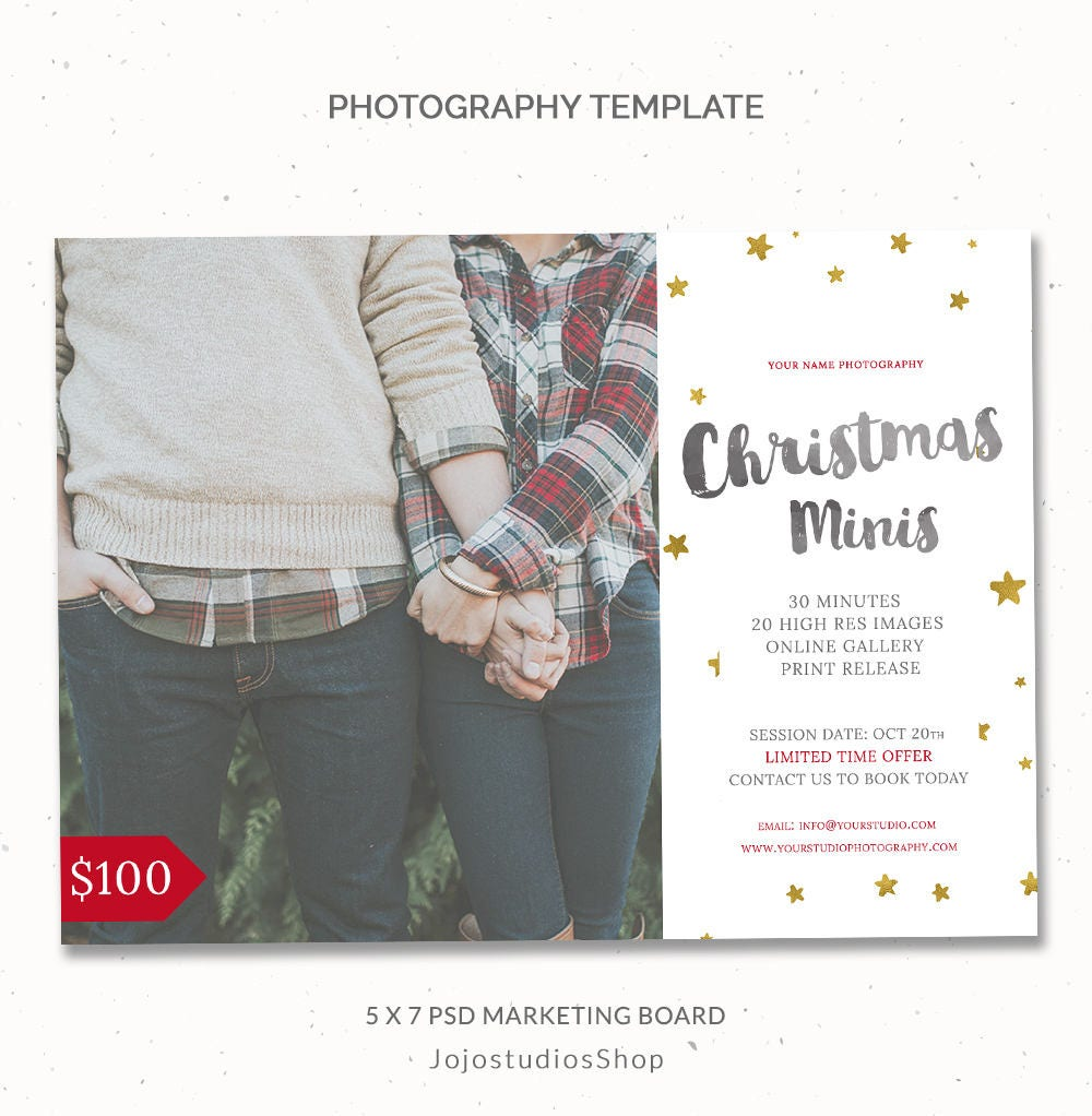 Christmas Mini Session Template Holiday Photography Template | Etsy