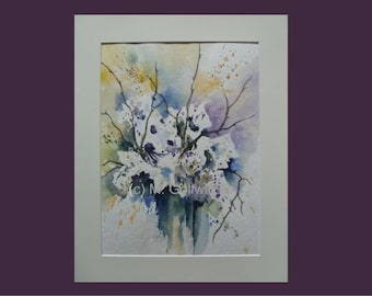 Floral waterflower white flowers abstract white original watercolor painting flower painting flower painting