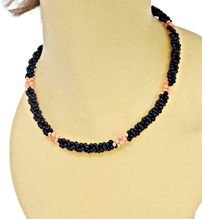 Onyx Bead Necklace Vintage Jewelry Black Onyx and Pink Coral Necklace Gemstone Bead Necklace Beaded Necklace Coral Bead Necklace