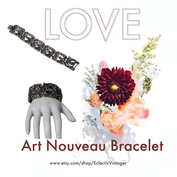 Art Nouveau Bracelet, Art Nouveau Wide Panel Brac… - image 10