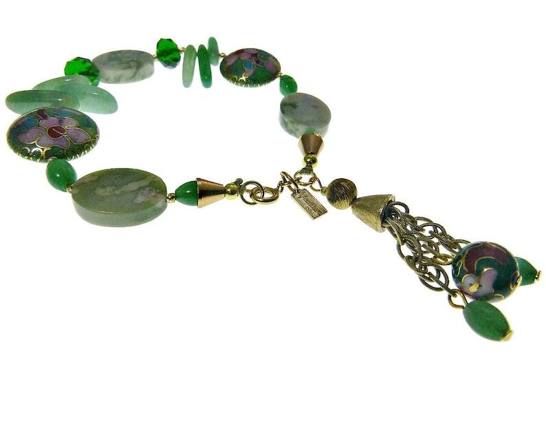 Vendome Jewelry Set Necklace Bracelet Earrings Jade Pink Floral Cloisonne Crystal Beads and Rhinestone Rondelles Tassel Signed