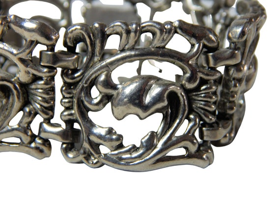 Art Nouveau Bracelet, Art Nouveau Wide Panel Brac… - image 6