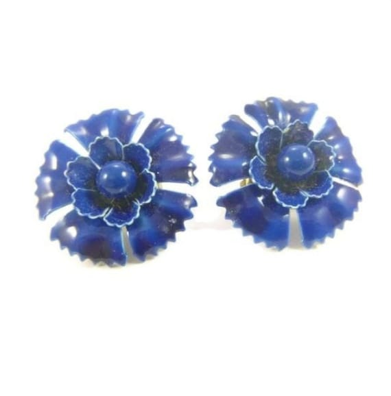 Vintage Blue Enamel Flower Clip-on Earrings Funky Jewelry