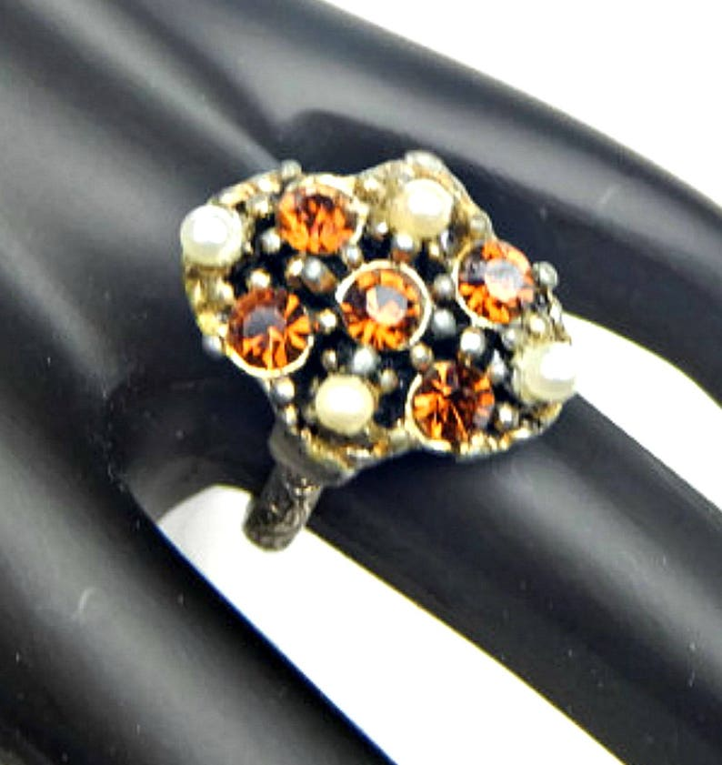 Vintage Jewelry Mid Century Brown Topaz Rhinestones Adjustable Ring Rhinestone and Faux Pearl Cocktail Ring
