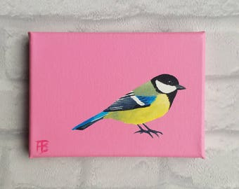 Great tit painted on a pink background/Koolmees op roze achtergrond