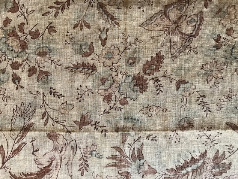 Charming French floral fabric with flowers and butterflies