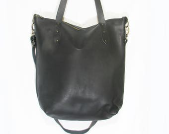 Handmade black leather tote bag