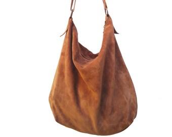 Handmade cognac suede hobo bag with leather shoulder belt