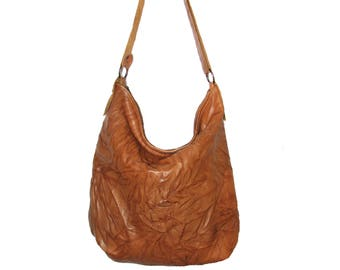 Handmade brwon leather hobo bag