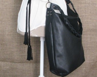 Handmade black leather hobo bag