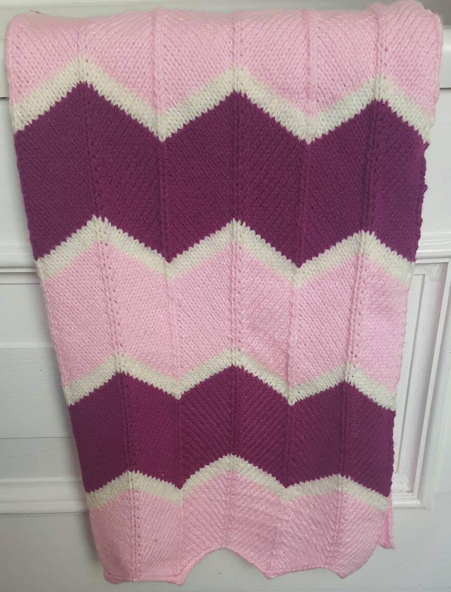 Hand knitted baby blanket, beautiful handmade baby blanket, chevron ...