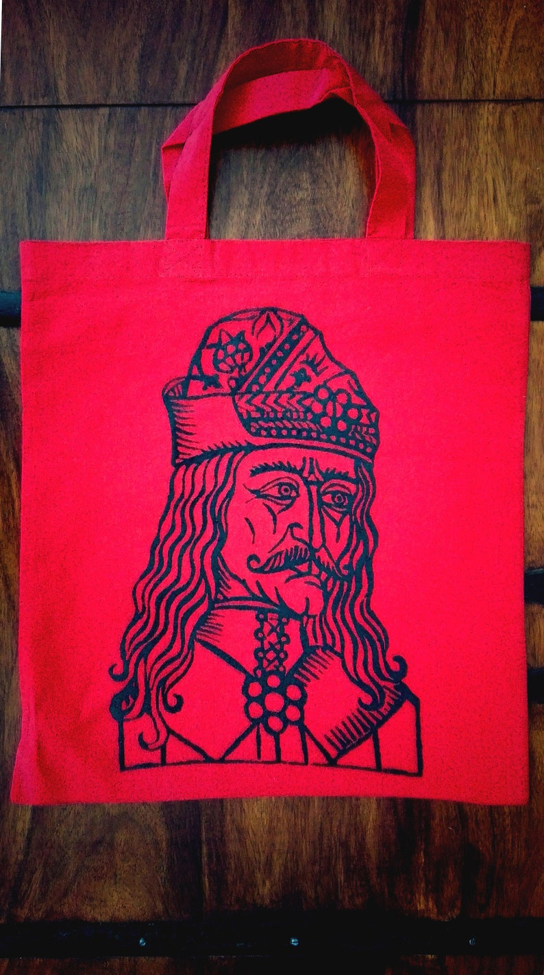 Vlad Tepes hand screen-printed TOTE BAG black on red