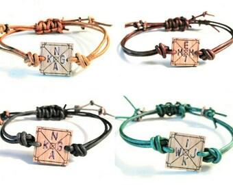 LOVE.MY.TRIBE™ custom bracelet >set of 4< leather + wood