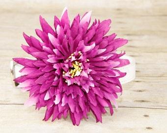 Purple Chrysanthemum, Dog Collar Accessory, Big Collar Flower, Flower Collar Accessory by Focus for a Cause