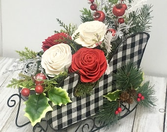 Checkered Christmas Sleigh full of sola wood floral Cheer // Table Centerpiece