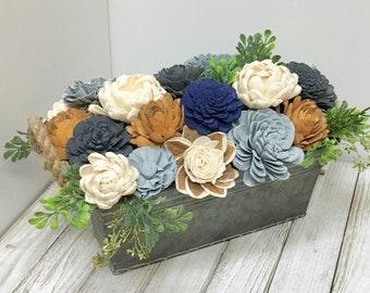 Navy sola wood Flower arrangement // Keepsake Gift // Table Centerpiece