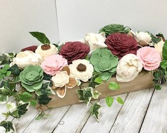 Farmhouse Planter Box Centerpiece, Sola Wood Flower Arrangement, Sola Wood Flowers, Flower Arrangement, Mantle Decor