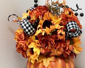 Faux Pumpkin Floral Arrangement // Fall Table Centerpiece // Keepsake Gift