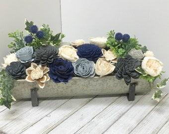 Farmhouse Centerpiece, Wood Flower Arrangement, Flower Arrangement, Farmhouse Decor