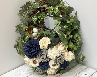 Wreath with Sola Wood Flowers, Sola Wood Arrangement, Wood Floral Arrangement, Wreath, Floral Arrangement
