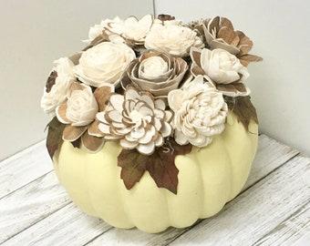 pumpkin arrangement, sola wood flowers, wood flowers, wood floral arrangement