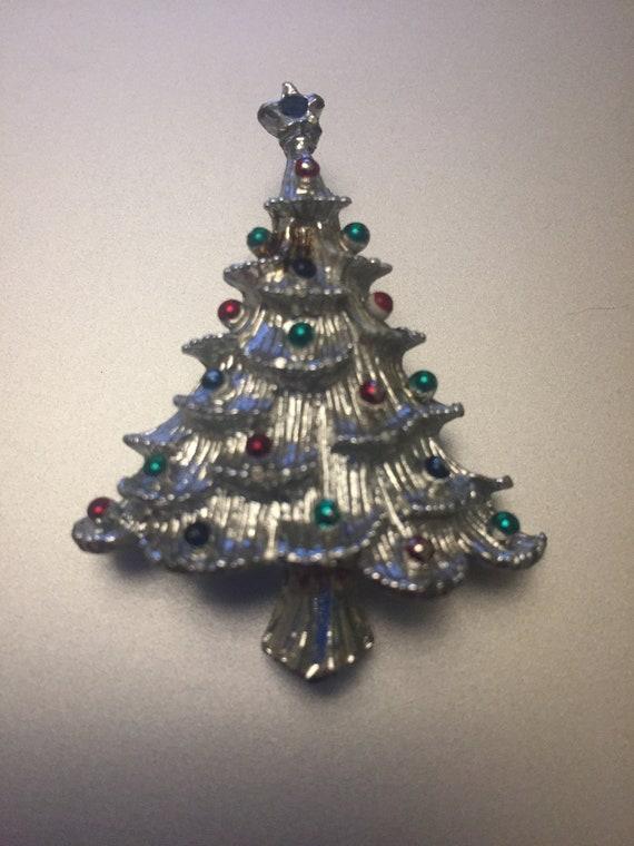 Vintage Silver Christmas Tree Pin