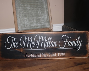 Last name sign, Personalized wedding sign, Personalized Family Name Sign, Established Family Sign Wall Sign wedding or anniversary gift