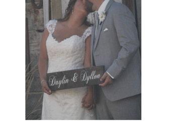 Wedding Sign - Wedding Signage - Custom Wood Sign - Personalized Name Sign -- Bride and Groom Name Sign -- Wedding Signage