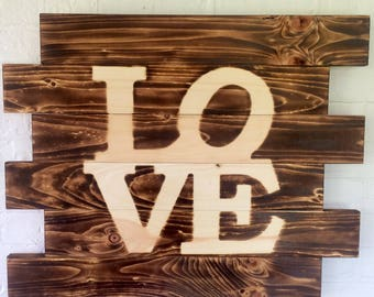 Love Philadelphia style burned wood sign- Man Cave Sign