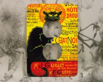 Medium Metal Tin Sign Chat Noir French Black Cat Shabby Chic Art Deco Kitchen
