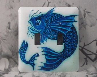 Metal Fish Light Switch Cover - 2T Blue Fish - 2T Double Toggle - Double Switch Cover