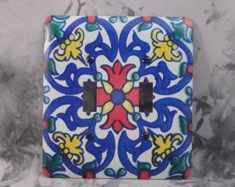 Metal Talavera Light Switch Cover - Mexican Decor Double Switch - 2T Double Toggle - Talavera Swirls