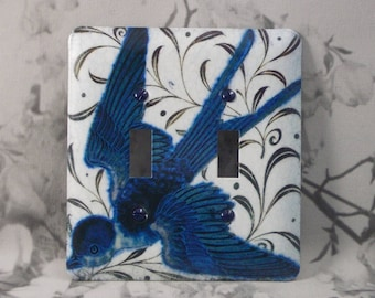 Metal Blue Bird Light Switch Cover - 2T Blue Bird - 2T Double Toggle - Double Switch Cover