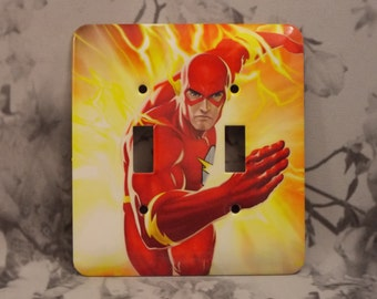 Metal Flash Double Toggle Light Switch Cover - Flash Super Hero - 2T Double Switch Cover
